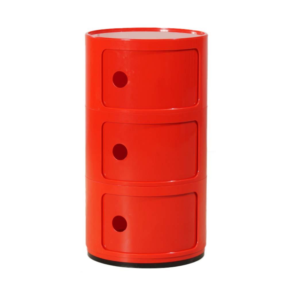 Table de chevet ronde, casiers européens de salon de style européen de boîte de rangement latérale multicouche en plastique, 38 * 58CM (Couleur : Red)