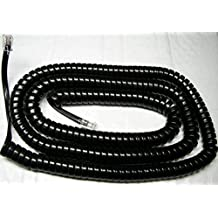 """Black Glossy 25' Ft LONG Phone Handset Cord for Mitel 5000 5200 5300 IP Series with 4"""" Tail/Lead/Leader by DIY-BizPhones"""