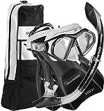 U.S. Divers Admiral Snorkeling Set - Premium Silicone Snorkel Mask, Trek Travel Fins, Dry Top Snorkel + Snorkeling Gear Bag