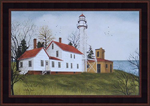illy Jacobs 15x21 Lighthouse Country Primitive Folk Art Print Framed Picture ()