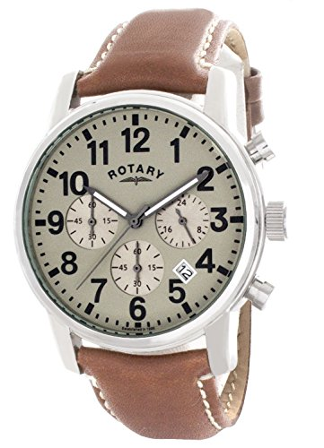Rotary Men's Green Dial Analog Quartz Brown Leather Strap Watch