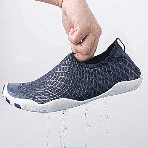 WateLves Wasserschuhe Mens Womens Beach Swim Schuhe Quick-Dry Aqua Socken Pool Schuhe für Surf Yoga Wassergymnastik Dunkelblau