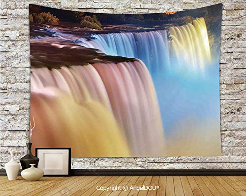 AngelDOU Waterfall Camping Tent Travel Mattress Tapestry Niagara Falls Colorful Cascade Stream at Night View Waterfall Scenic Picture Polyester Thin Tapestry.W70.8xL59(inch)