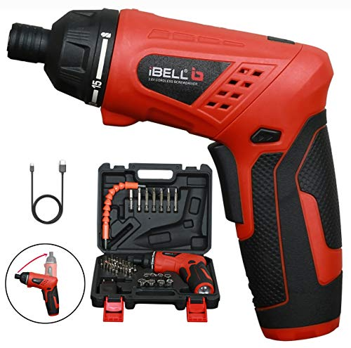 iBELL MS06-16 Cordless Rechargeable Electric Screwdriver 3.6V, 1500mAh Lithium Ion Battery MAX Torque 3.5Nm, 2 Flexible Position and 16 Torque Setting, Front LED and Rear Flashlight- 6 Months Warranty 1