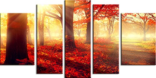 Startonight Canvas Wall Art Daydream Red Morning in the Forest, Nature Painting USA Design for Home Decor, Modern Framed Set of 5 Total 35.43 X 70.87 Inch by Startonight