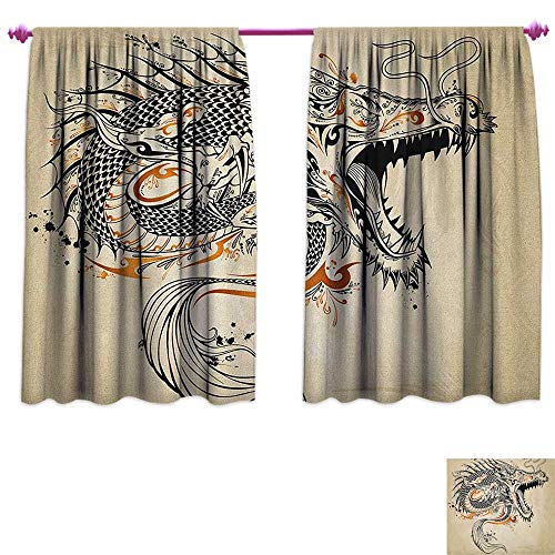 homefeel Japanese Dragon Room Darkening Wide Curtains Doodle Style Roaring Creature with Tail Fangs Scales Tribal Details Customized Curtains W63 x L63 Tan Black Gold ()