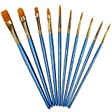 Arts & Crafts : Xubox Pointed-Round Paintbrush Set, 10 Pieces Round Pointed Tip Nylon Hair Artist Detail Paint Brushes Set for Fine Detailing & Art Painting, Acrylic Watercolor Oil, Nail Art, Miniature Painting, Blue