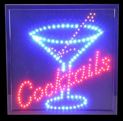 Cocktail Flashing LED Bar Sign - 19