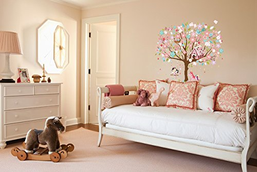 Kath & Cath Rainbow Unicorn, Pink Fairy, Gingerbread House, Singing Birds and Cherry Blossoms Tree Wall Stickers -Kids… 8