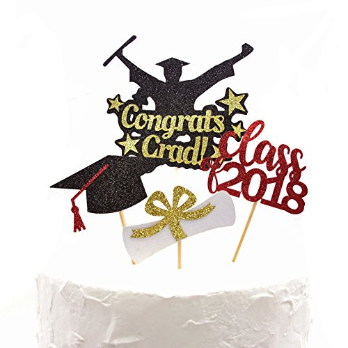 Graduation Cake Toppers, Congrats Grad Class of 2018 Cake Toppers, Graduation Party Supplies, Grad Cake Decorations, Pack of 4 -