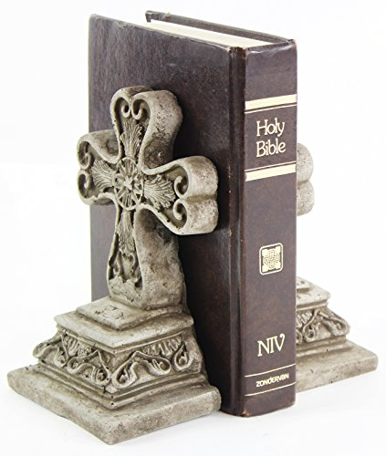 Fleur de Lis Garden Ornaments LLC Cross Concrete Bookends Heavy Book Holders Religious Statuary Home Decor from Fleur de Lis Garden Ornaments LLC