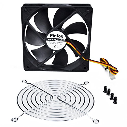 Pinfox 12V DC 120mm Quiet Cooling Fan, Variable Speed Control By 5V To 12V Input, Dual Ball Bearings 3 Pin for PC Computer Case, Home Theater Cabinet, Receiver DVR Xbox, Incubator by Pinfox (Image #4)'