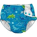 i play. Boys' Baby Snap Reusable Absorbent Swimsuit Diaper, Aqua Dinosaurs, 18mo