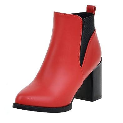 UH Damen Blockabsatz Chelsea Boots Chunky High Heels