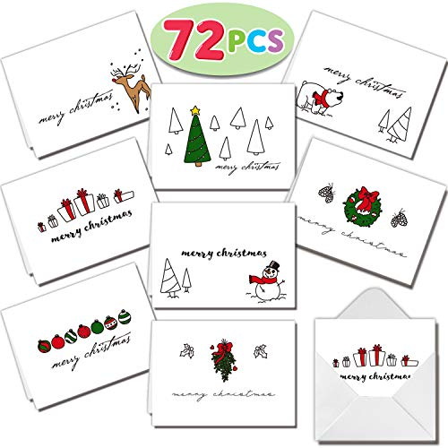 72 Piece Merry Christmas Holiday Greeting Cards Collection with 8 Unique Festive Designs & Envelopes for Winter Christmas Season, Holiday Gift Giving, Xmas Gifts Cards. (Christmas Cards Festive)