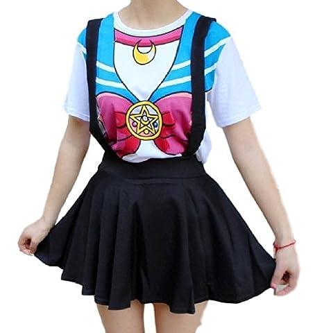 SSJ: Harajuku T-shirt Print Top [Sailor Moon Style] Cute kawaii Cosplay Japan Anime (M, Blue) - Buy Anime Japan