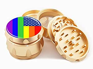 "Gay Flag Design Premium Grade Aluminum Tobacco,Herb Grinder -4Pcs Large (2.5"" Gold) # GLD-110514-0027"