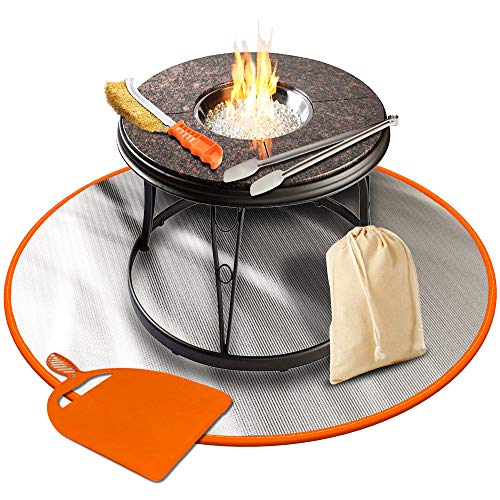 Flamme M24 Mat 24 inches Fireproof Grill Patio Lawn and Deck Protector Outdoor Wood Fire Outside Pits Blanket Charcoal,Chiminea,BBQ Smoker Pad, Camping, Bonfire