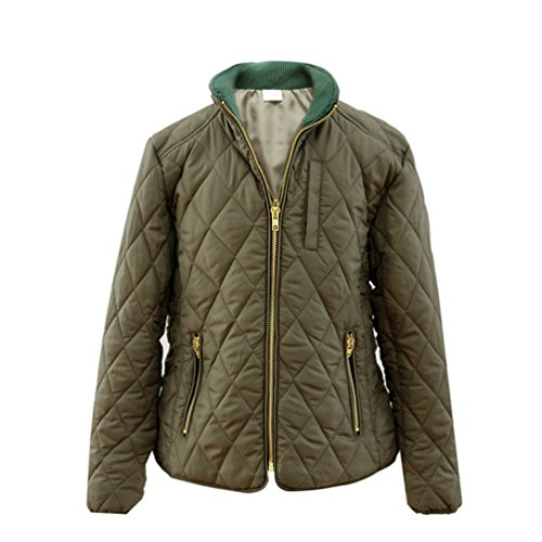 Hiheart Girls Winter Stand Collar Quilting Padded Jacket Windproof Coat Khaki 4/5