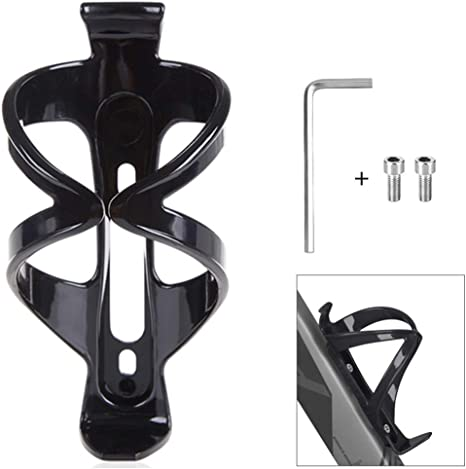 Bike Water Bottle Cage Lightweight Adjustable Cup Brackets Alloy Aluminum 1PCS Black with Screw Wrench and Ties yVicv Bicycle Bottle Holder