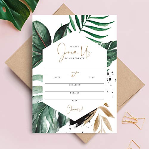 Bliss Collections 25 Tropical Greenery Invitations with Envelopes, 5x7 Invites for Bachelorette Party, Birthday, Bridal Shower, Baby Shower, Destination Wedding or Special Occasion (Best Occasions Wedding Invitations)