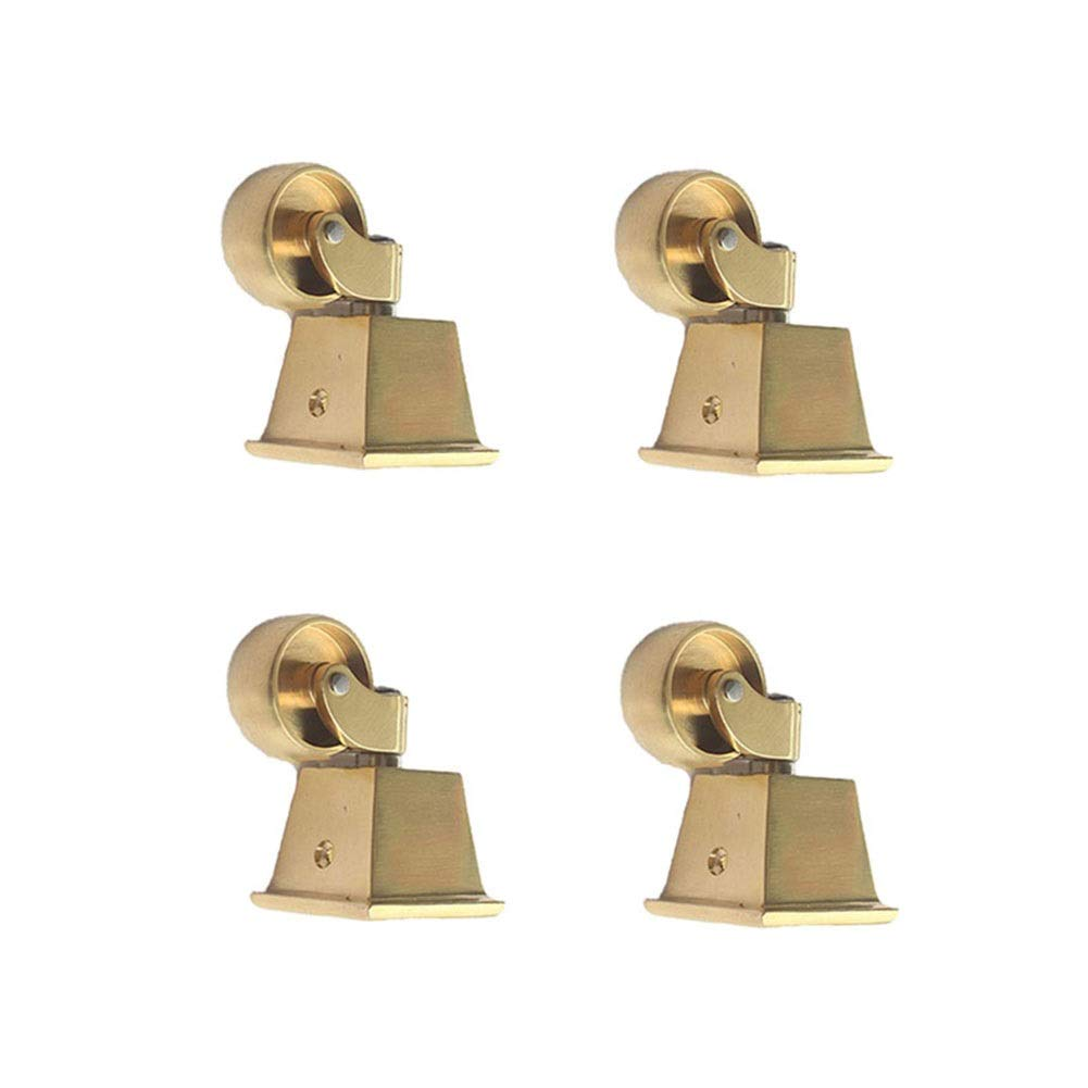 MUMA Brass Castors Casters With 32mm Wheels European Furniture Retro Furniture Square Cup Style Fitting Polished Brass - Set Of 4/6 (Color : Universal wheel, Size : 3 inches 4 pieces)