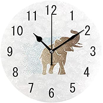 ALAZA Home Decor Indian Elephant Abstract Round Acrylic 9 Inch Wall Clock Non Ticking Silent Clock Art for Living Room Kitchen Bedroom