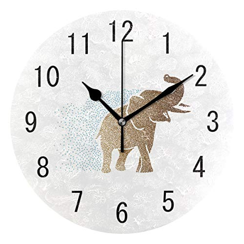 Elephant Clock - ALAZA Home Decor Indian Elephant Abstract Round Acrylic Wall Clock Non Ticking Silent Clock Art for Living Room Kitchen Bedroom