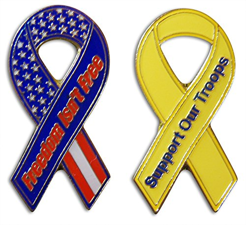 (Novel Merk 2-Piece Support Our Troops & Freedom Isn't Free Patriotic Ribbon Lapel or Hat Pin &Tie Tack Set with Clutch Back by)