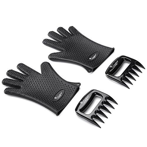 vinkoe hitzebeständig Silikon BBQ Grill Ofen Handschuhe und Fleisch Carving Krallen Set von zwei-Schwarz