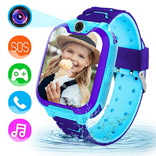 Lsflair Children Game Smart Watch Mobile Phone, Smart Watch with 1GB SD Card Game Time Music Player Camera Alarm Clock Calculator Watch 3-12y Girl Boy Child Birthday Educational Toy from Lsflair