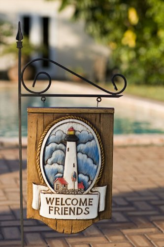 Nautical Lighthouse Welcome Sign with Yard Stake