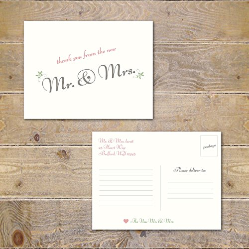 Wedding Thank You Cards Notes Postcards Post Cards Mr and Mrs ()