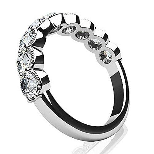 14K Or blanc diamant rond milgrain Bague anniversaire de mariage
