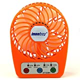 innobay Handy Portable Rechargeable Fan Operated by Built-in Lithium Battery, 7 blades, 4 Speeds of Air Force Adjustable, Timing Function and Battery Status Visible, Perfect Gift for Kids (Orange)