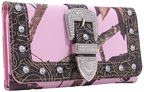 Rhinestone Buckle Camouflage (Emperia Women's Julia Mossy Oak Ladies Tri-Folded Buckle Wallet with Rhinestones, Camouflage/Pink/Trim Brown, 7.5 x 1 x)