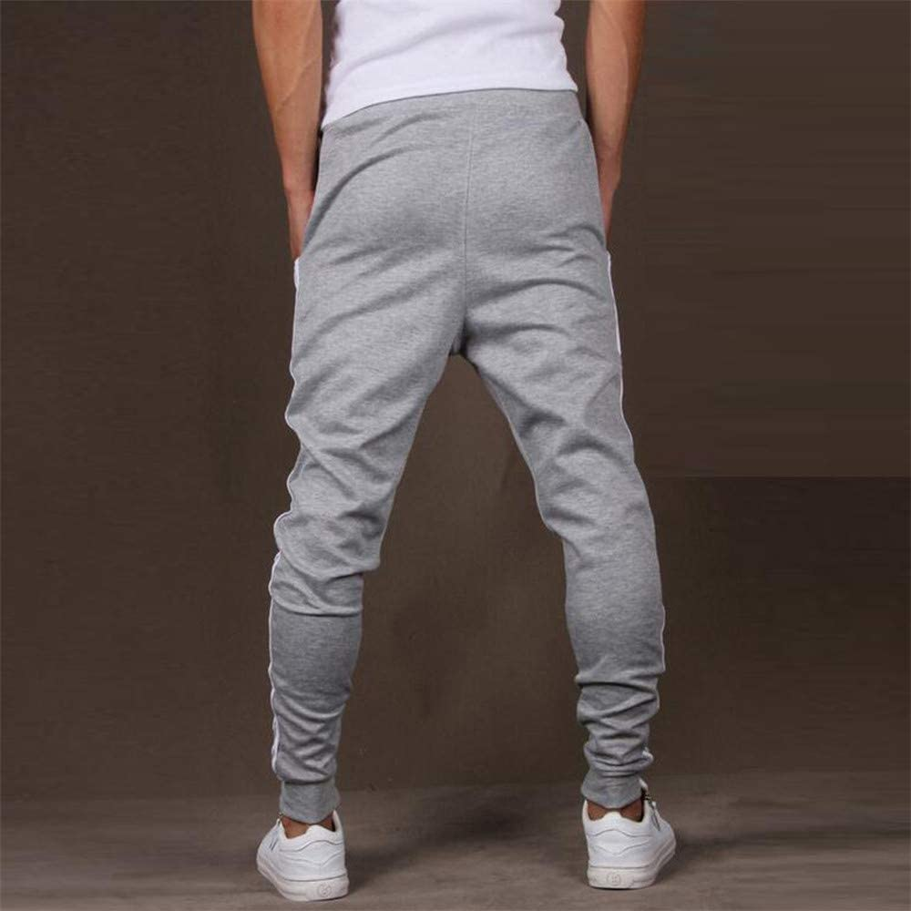 LHVUOA Men Splicing Printed Overalls Casual Pocket Sport Work Casual Trouser Pants