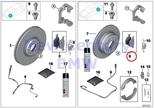 BMW Genuine Rear Brake Pads Asbestos-Free Repair Kit 328i 328iX 330e 428i 428i