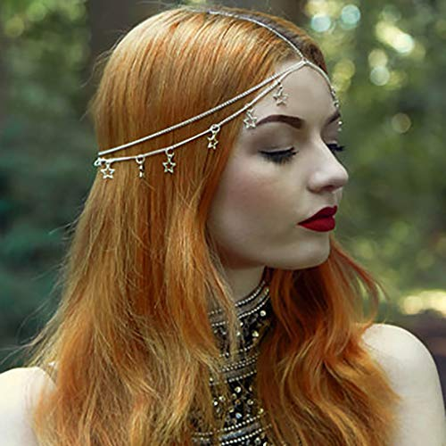- Leiorthrix Boho Moon Star Head Chain Tassel Hair Chain Jewelry Headpiece Silver Wedding Hair Accessories for Women (Star)