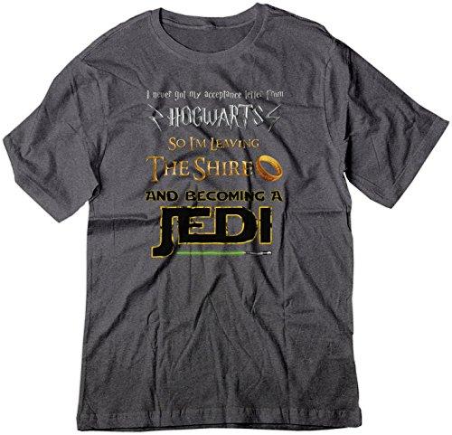 BSW Youth Harry Potter Lord of The Rings Star Wars Jedi Fan Shirt XL Dark Heather (Tshirt Hogwarts Shire Jedi)