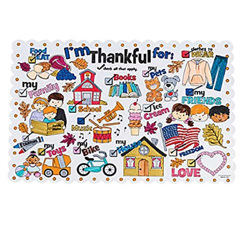 Color Your Own I'm Thankful for Thanksgiving Place Mats Craft Kits for Kids, 24 -