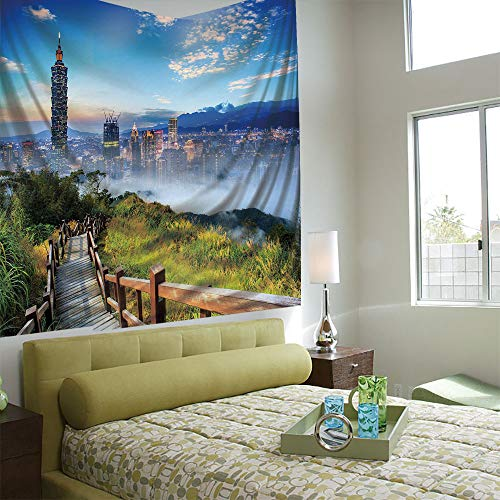 (AngelSept Popular Flexible Hot Tapestries Privacy Decoration,Scenery Decor,Beautiful Scenery of a City Cosmopolitan Life and Nature with Bridge Print,Multicolor)
