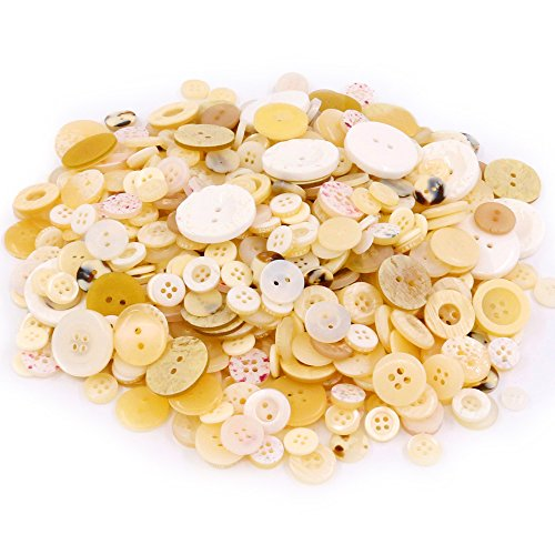 Swpeet 650 Pieces Assorted Sizes Resin Buttons 2 and 4 Holes Round Craft Buttons for Sewing DIY Crafts Children's Manual Button Painting (Shell Color)