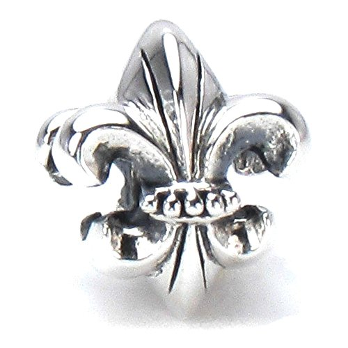 BELLA FASCINI Fleur de Lis European Bead Charm Sterling Silver Fits Compatible Bracelets and Bangles