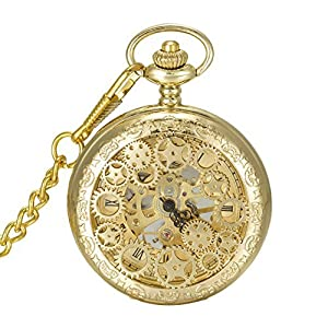 SwitchMe Hand Wind Mechanical Pocket Watch Hollow Cover