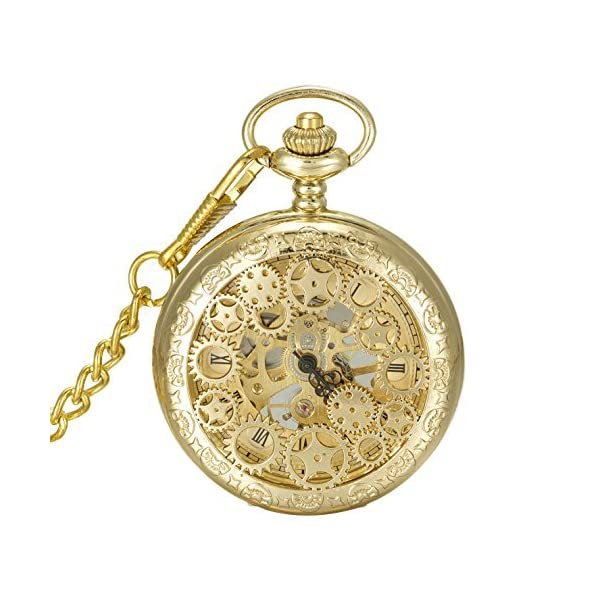 SwitchMe Hand Wind Mechanical Pocket Watch Hollow Cover 3