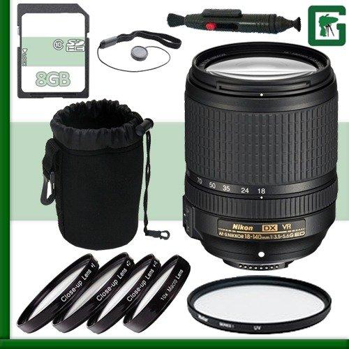 Nikon 18 – 140 mm f / 4 – 5.5.6 G ED VR af-s DXレンズ+ 8 GBグリーンのカメラバンドル1   B00UCBJBXE