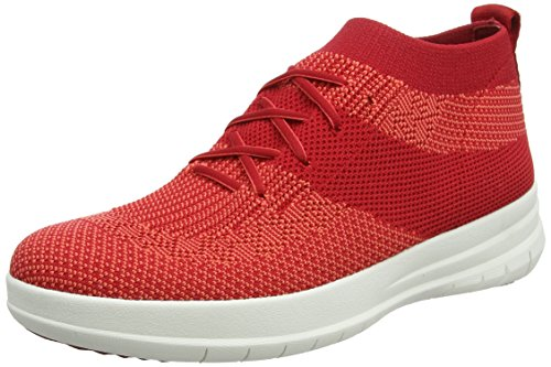 FitFlop Uberknit Slip-on High Top Sneaker, Baskets Hautes Femme, Gris, Taille Unique Rouge (Classic Red 203)