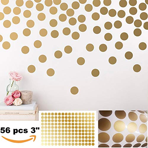 BATTOO Peel and Stick Gold Wall Decal Confetti Polka Dots - 3 inch 56 pcs - Safe for Walls & Paint - Metallic Gold Vinyl Round Circle Art Wall Stickers Large Sheet Baby Nursery Room Set