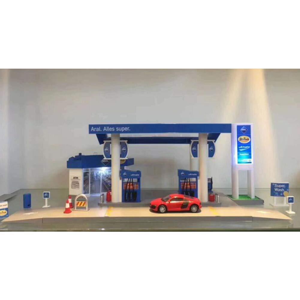 Yiwa Mod/èle de Voiture,Scale Sound BMW Z4 Light Service Station Service Magasin Route Voiture Voiture Jouant Maison Jouet Ensemble British BP Oil Station Combination